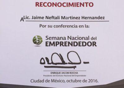 Jaime Neftali Martínez Hernández - Semana Nacional del Emprendedor 2016 - RECONOCIMIENTO